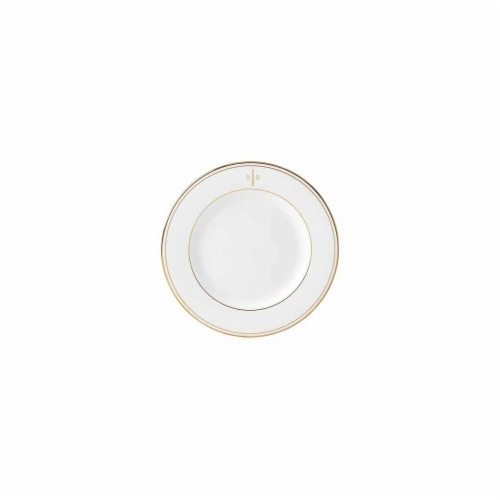 Lenox 8 in. dia. Federal Gold Monogram Block Salad Plate - I Perspective: front