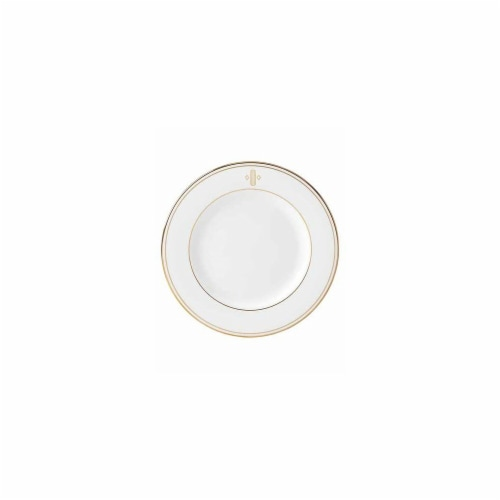 Lenox 8 in. dia. Federal Gold Monogram Block Salad Plate - O Perspective: front