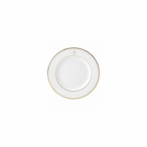 Lenox 8 in. dia. Federal Gold Monogram Block Salad Plate - Z Perspective: front