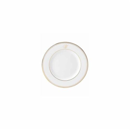 Lenox 8 in. dia. Federal Gold Monogram Script Salad Plate - U Perspective: front
