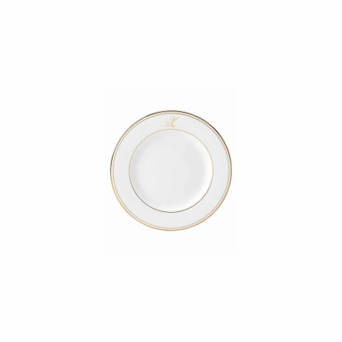 Lenox  8 in. dia. Federal Gold Monogram Script Salad Plate - X Perspective: front