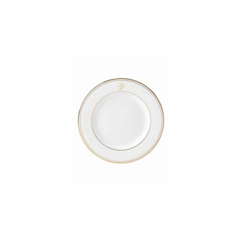 Lenox 8 in. dia. Federal Gold Monogram Script Salad Plate - Y Perspective: front