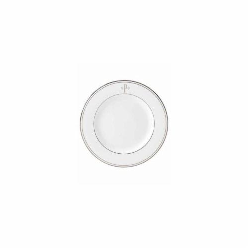 Lenox 8 in. dia. Federal Platinum Monogram Block Salad Plate - P Perspective: front