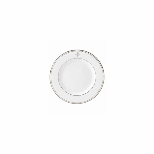 Lenox 8 in. dia. Federal Platinum Monogram Block Salad Plate - V Perspective: front