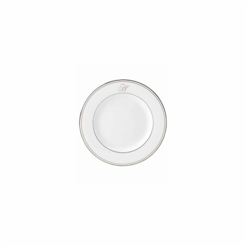 Lenox 8 in. dia. Federal Platinum Monogram Script Salad Plate - H Perspective: front
