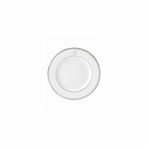 Lenox 8 in. dia. Federal Platinum Monogram Script Salad Plate - N Perspective: front