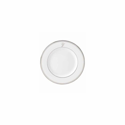 Lenox 8 in. dia. Federal Platinum Monogram Script Salad Plate - Y Perspective: front
