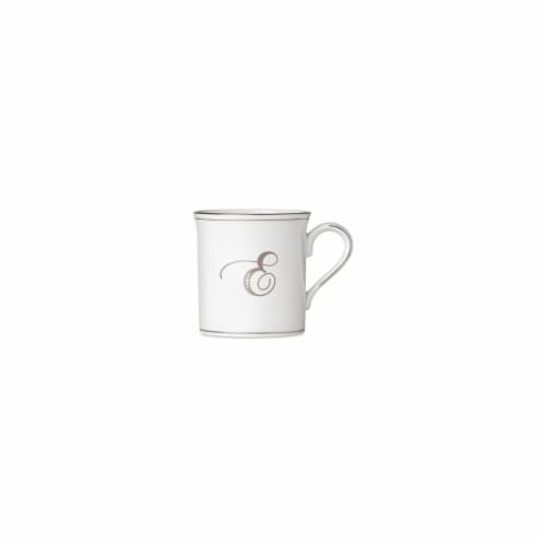 Lenox 12 oz Federal Platinum Mono Script Dinnerware Mug - E Perspective: front