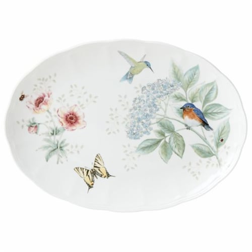 Lenox Butterfly Meadow Flutter Oval Platter, White Perspective: front