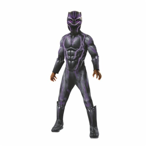 Rubies 276705 Marvel Black Panther Movie Super Deluxe Boys Light Up Black Panther Costume - M Perspective: front