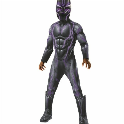 Rubie's 276704 Marvel Black Panther Movie Super Deluxe Boys Light Up Black Panther Costume - S Perspective: front