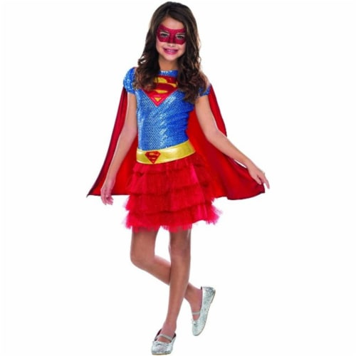Rubies Costumes 242567 Supergirl Sequin Child Costume, Red - Medium Perspective: front