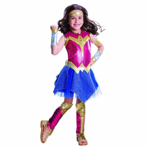 Rubie's Costumes 244966 Batman v Superman Dawn of Justice-Girls Deluxe Wonder Woman Costume, R Perspective: front