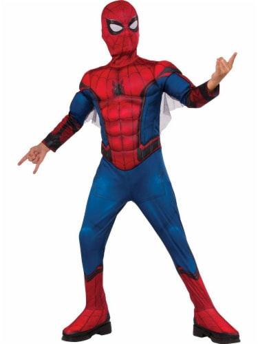 Rubies Children's Large Marvel Comics Deluxe Spider-Man Homecoming Costume - Red/Blue Perspective: front