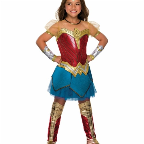 Rubies Costume 274633 Justice League Girls Premium Wonder Womans Costume, Small Perspective: front