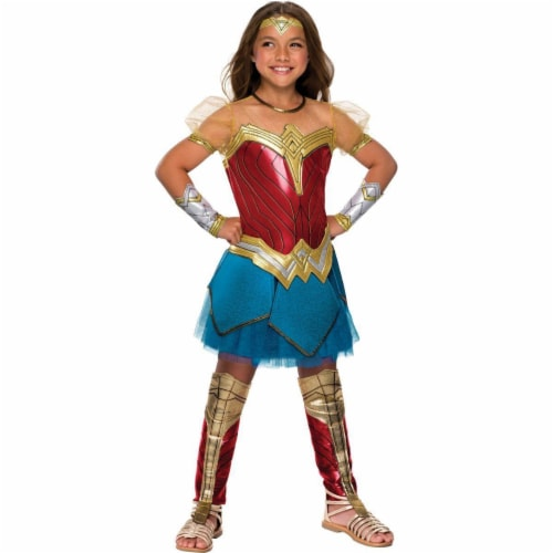 Rubies 274635 Justice League Girls Premium Wonder Woman Costume - Large, Polyester Perspective: front