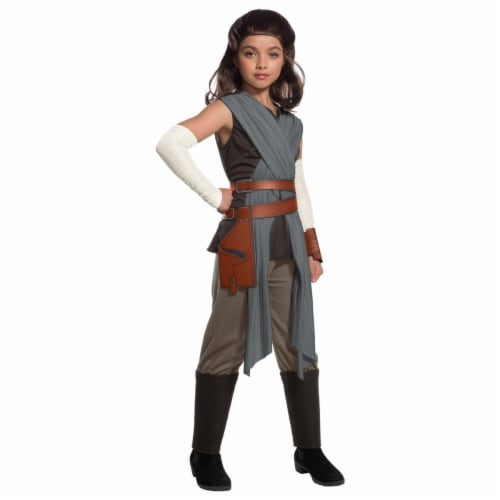 Rubies 271800 Star Wars Episode VIII - The Last Jedi Deluxe Girls Rey Costume - Large Perspective: front