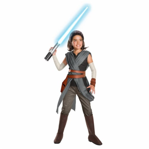 Rubies 271811 Star Wars Episode VIII - The Last Jedi Super Deluxe Girls Rey Costume - Medium Perspective: front