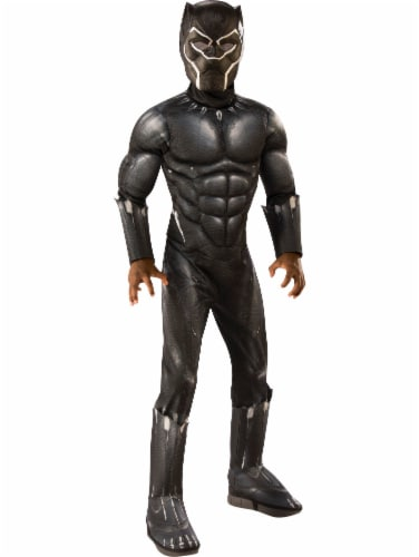 Seasons Boys' Medium Black Panther Deluxe Costume Perspective: front