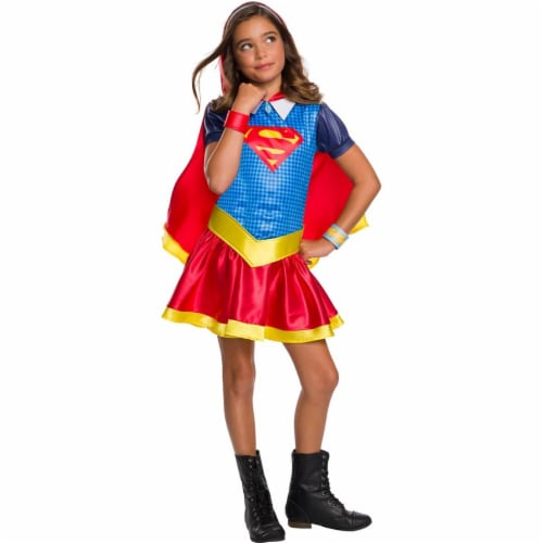 Rubies 278912 Halloween Dc Super Hero Girls Supergirl Hoodie Dress - Large Perspective: front