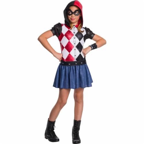 Rubies 278921 Halloween Dc Super Hero Girls Harley Quinn Hoodie Dress - Large Perspective: front