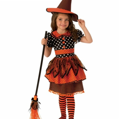 Rubies 278933 Halloween Girls Polka Dot Witch Costume - Small Perspective: front