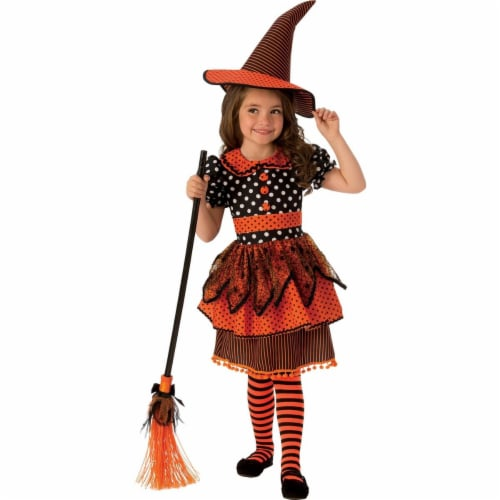 Rubies 278932 Halloween Girls Polka Dot Witch Costume - Medium Perspective: front