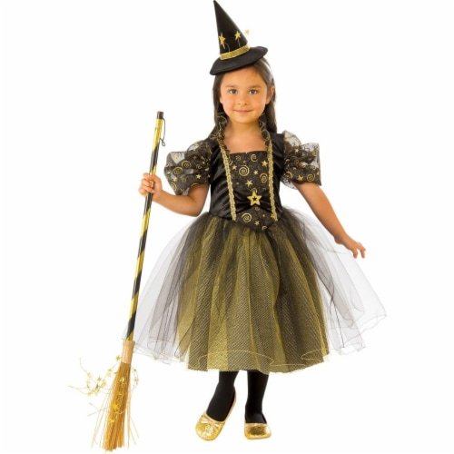 Rubies 278935 Halloween Girls Golden Star Witch Costume - Medium Perspective: front
