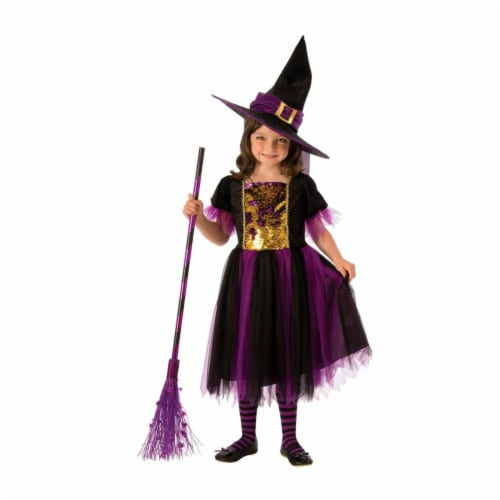 Rubies Costume 280162 Girls Color Magic Witch Costume, Medium Perspective: front