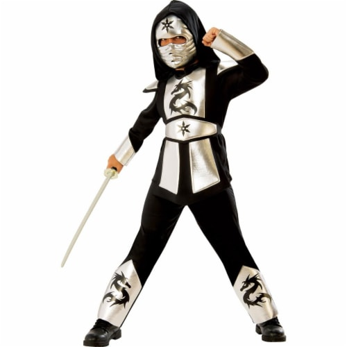 Rubies 278996 Halloween Boys Silver Dragon Ninja Costume - Large Perspective: front