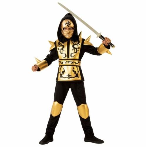 Rubies 278999 Halloween Boys Gold Ninja Costume - Large Perspective: front