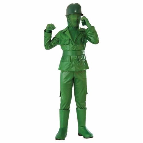Rubies 279019 Halloween Boys Green Army Boy Costume - Medium Perspective: front