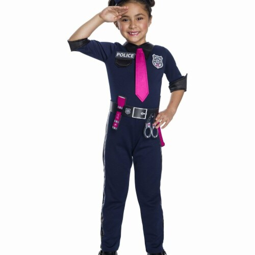 Rubies 279098 Halloween Girls Barbie Police Officer Costume - Extra Small Perspective: front