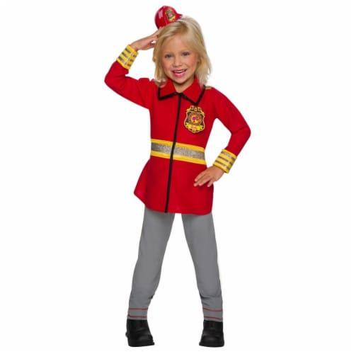 Rubies 279075 Halloween Girls Barbie Firefighter Costume - Medium Perspective: front