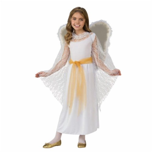 Rubies 275257 Christmas Deluxe Lace Girls Angel Costume - Medium Perspective: front