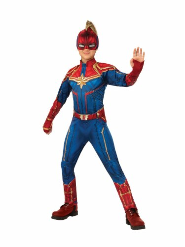 Seasons Girls' Small Captain Marvel Suit Costume Perspective: front
