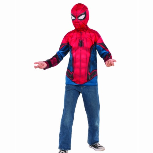 Rubies 404670 Boys Spider Man Far From Home Costume Top Red & Blue Suit - Medium Perspective: front
