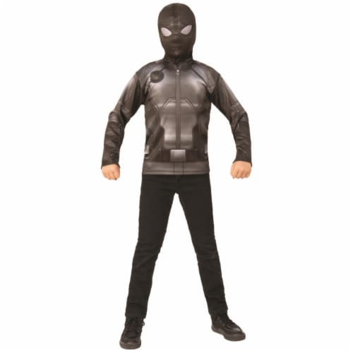 Rubies 404673 Boys Spider Man Far From Home Costume Top Stealth Black & Gray Suit - Medium Perspective: front
