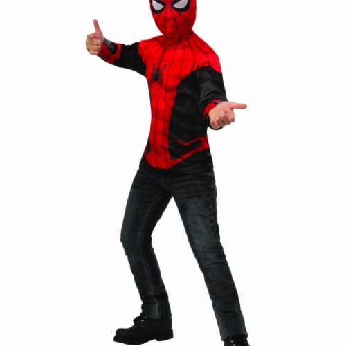 Rubies 404675 Boys Spider Man Far From Home Costume Top Red & Black Suit - Large Perspective: front