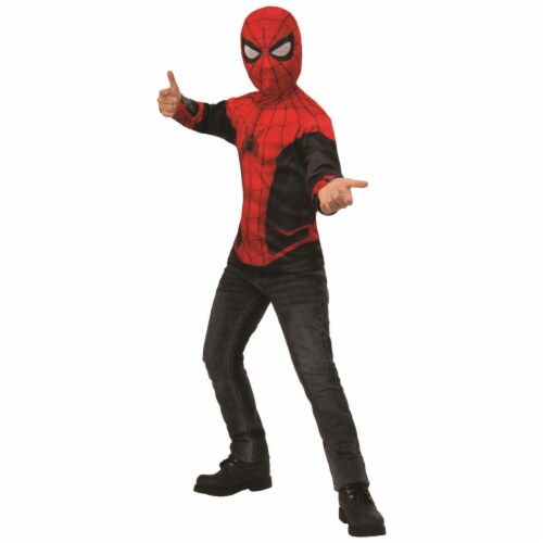 Rubies 404676 Boys Spider Man Far From Home Costume Top Red & Black Suit - Medium Perspective: front