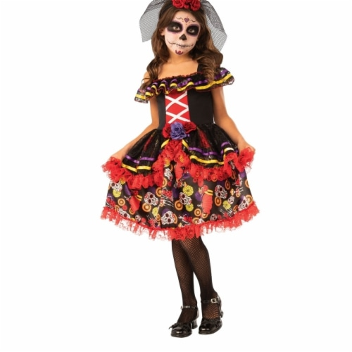 Rubies 405118 Girls Day of the Dead Costume, Small Perspective: front