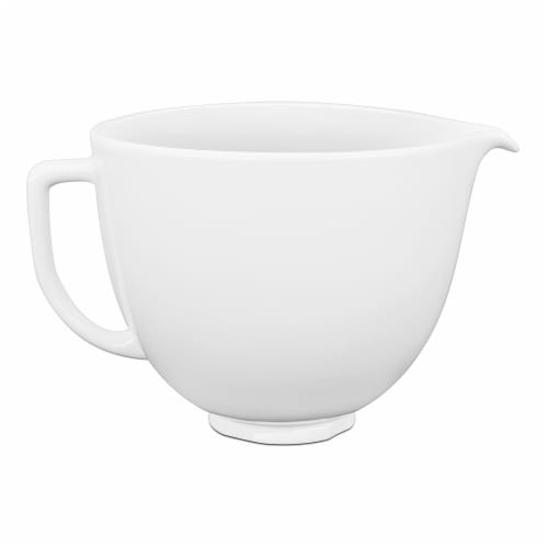 KitchenAid 5 Quart White Chocolate Ceramic Mixing Bowl for Kitchen Stand Mixer Perspective: front