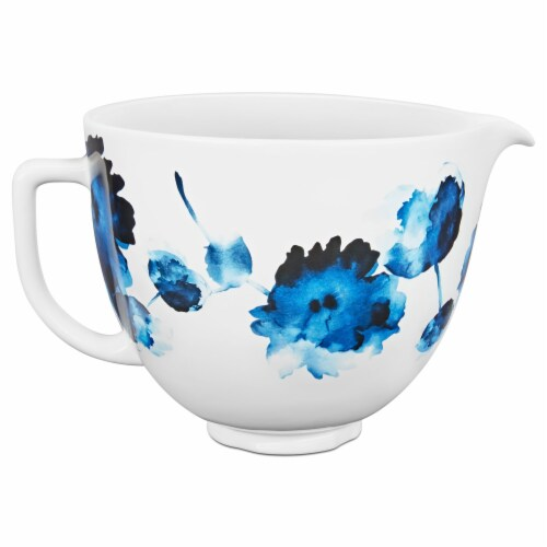 KitchenAid Patterned Ceramic Bowl - White/Blue Perspective: front