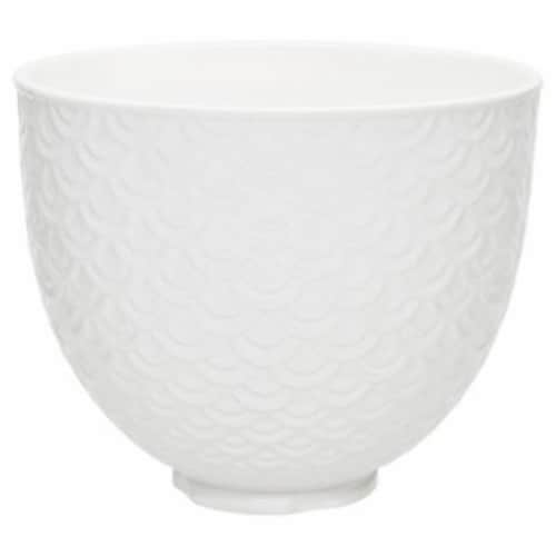 KitchenAid 5 Qt White Mermaid Lace Ceramic Mixing Bowl for Kitchen Stand Mixer Perspective: front