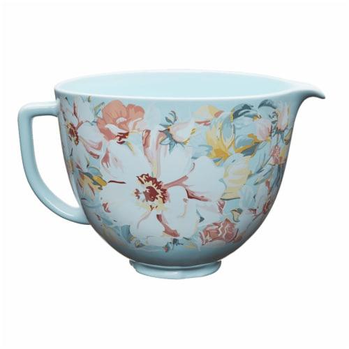 KitchenAid 5 Quart White Gardenia Ceramic Mixing Bowl for Kitchen Stand Mixer Perspective: front