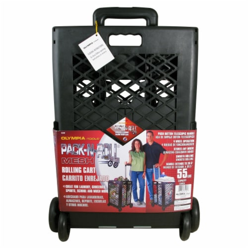 Olympia Tools Mesh Wheeled Cart - Black Perspective: front