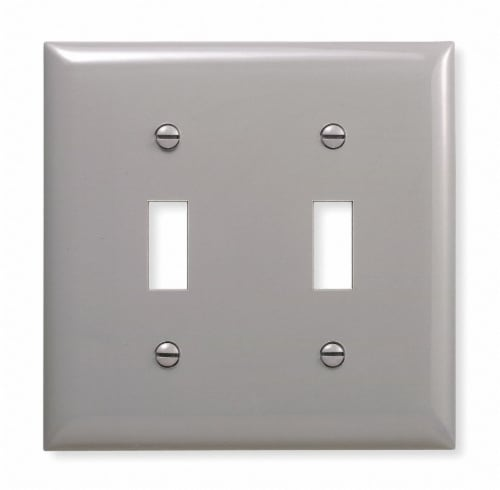 Hubbell Wiring Device-Kellems Toggle Switch Wall Plate,2 Gang,Gray HAWA NP2GY Perspective: front