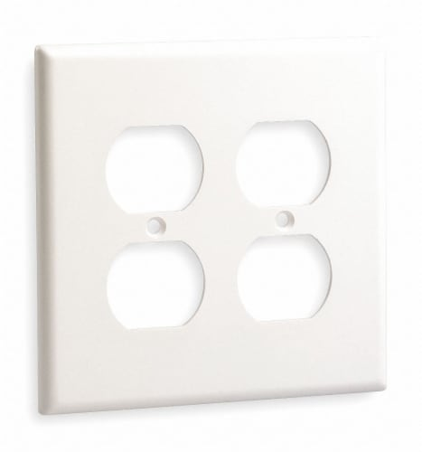 Hubbell Wiring Device-Kellems Duplex Wall Plate,2 Gang,White HAWA NP82W Perspective: front