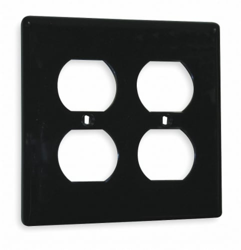 Hubbell Wiring Device-Kellems Duplex Wall Plate,2 Gang,Black HAWA NP82BK Perspective: front