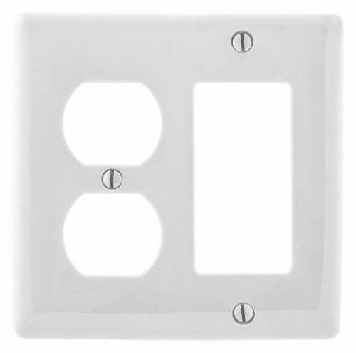 Hubbell Wiring Device-Kellems Wall Plate,White,2 Gangs,Smooth,Nylon HAWA NP826W Perspective: front